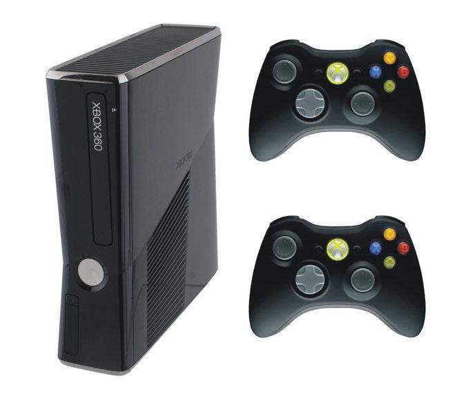 xbox 360 konsole slim inkl 2 controller zubeh r f r. Black Bedroom Furniture Sets. Home Design Ideas